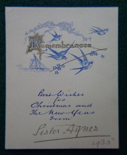 Antique Signed Christmas Card Sister Agnes Keyser 1935 Mistress King Edward VII